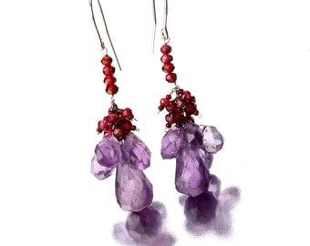 Long Dangling Garnet and Amethyst Semi Precious Stone Earrings