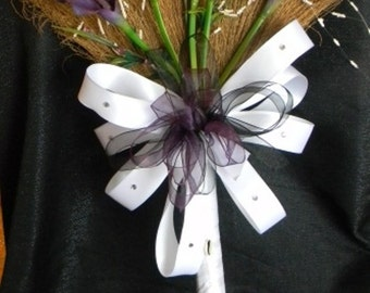 Wedding Broom with Purple Calla Lilies and Purple/White/Black Accents, Purple Jumping Broom, Decorative Broom, Jump Broom, Ceremony Broom,