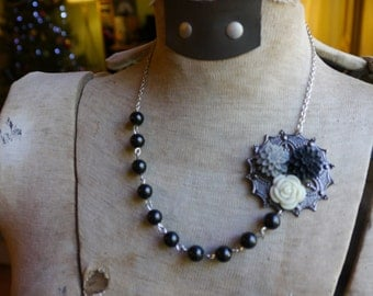 Collage Statement Necklace in Black, White, Gray, Collage Necklace, Floral Necklace