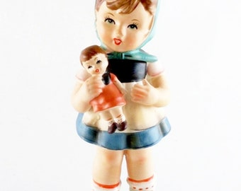 Vintage Enesco Figurine Girl Holding Doll Label Attached