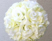 8 inch Ivory Cream Rose Kissing Pomander Ball Wedding Decoration