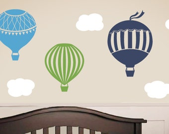 Hot Air Balloon Vinyl Wall Decal Set - Large Size, Children Wall Decals, Clouds, Playroom Nursery