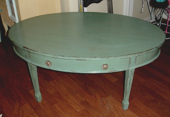 Cocktail coffee table oval large teal vintage retro hand for Teal coffee table