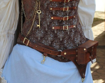 Custom Steampunk Brown and Light Blue Corset full outfit