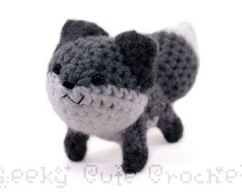 Gray Fox Amigurumi Crochet Plush Toy