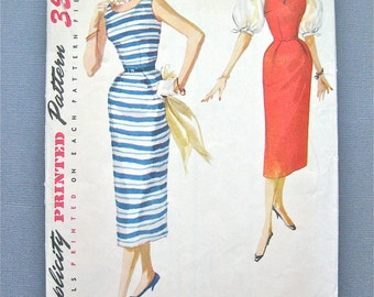 Vintage 1950s Simplicity 1085 Sewing OnePiece wiggle Dress Pattern Slim Skirt Sleeveless  Bust 32 inches