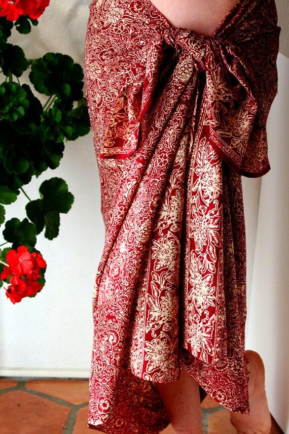 Red Chiffon Sarong Chiffon Scarf Womens Clothing by PuaWear