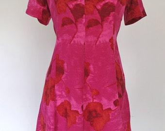 HIBISCUS // pink watercolor 1970s dress S / M / L