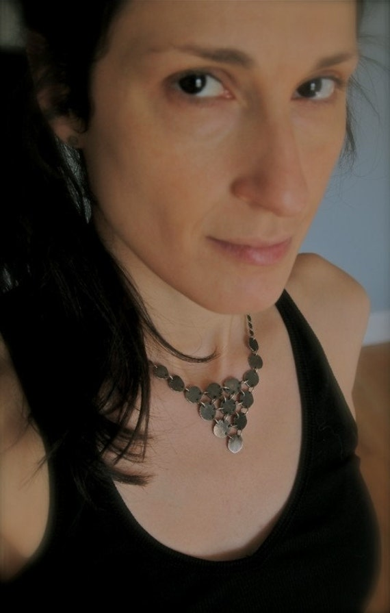 Dark, urban, edgy, rustic hammered silver disc bib-style necklace