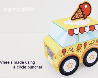 Ice Cream Party Favor Box Truck Paper Craft Toy Yellow - Editable Text Printable PDF