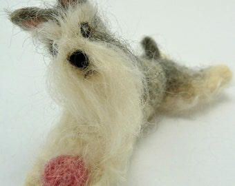 Felted Mini Schnauzer, Small Custom Dog, Felted Wooly Friend made to order