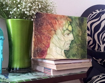 Morgan Le Fay ZEN Inspired Painting Watercolor On Tissue Fantasy PORTRAIT Lynne French
