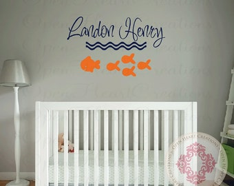 Nautical Name Wall Decal with Fish Accents - Small to Large Size Boy or Girl Monogram Vinyl Wall Decal FN0520