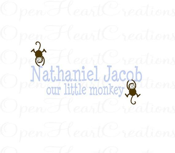 Monkey Wall Decal wth Boys Name - Jungle Baby Nursery - Twins Vinyl Wall Decal  22H x 36W FN0189