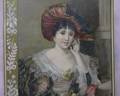 Pretty Lady with Huge Hat - Lacy Dress - Flowers - Lrg Victorian Card - 1800's
