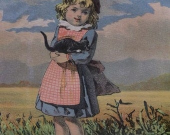 Pretty Girl Holding Black Cat - Colorful Litho Print - 1800's