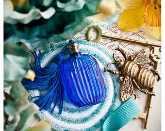 the erzulie bottle - natural perfume/cologne oil held captive in lavish blue bottle w/tassel - over 60 victorian inspired aroma options