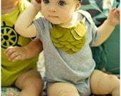 Baby Girl Bodysuit, Olive Green Layers On Heather Grey, Mermaid Style, 6 12 18 Month, Custom Size, Neutral