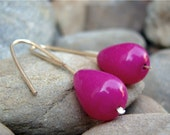 Pretty in Pink Jade Gold Brass Earrings