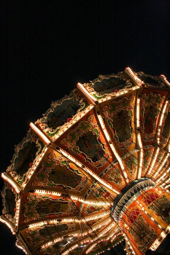 Photograph Bright Circus Carnival Amusement Park Lights in the Dark Evening Fun Fair Night New Jersey Nostalgia Fine Art Print Home Decor