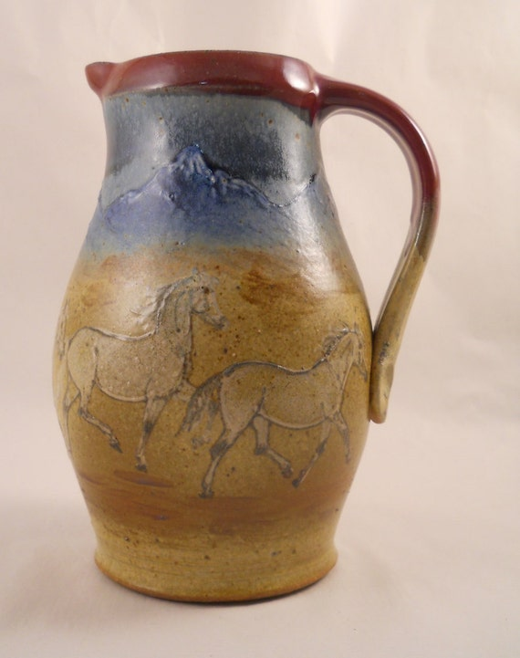 Pitcher - Trotting Grey Horses & Mountains