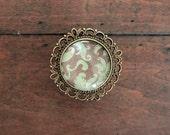Brass Drawer Knobs Recollection Series Mint Damask (MK127 08)