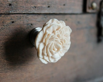 Drawer Knobs - Furniture Knob - Cabinet Hardware - Peony Flower in Tudor Cream, more COLORS available (RFK02)