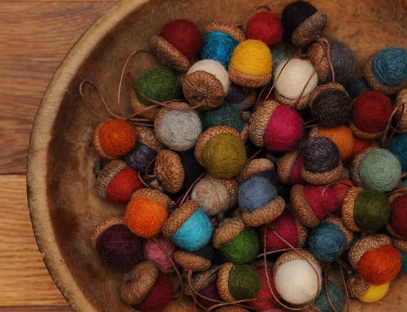 Felted wool acorns or acorn ornaments you pick by for How to make acorn ornaments