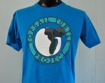 1991 Topsail Turtle Tee Tee Nature Animal Nature Vintage Teal Blue TShirt Aqua MEDIUM Large