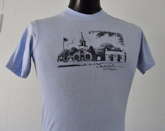 Super Soft Thin NH TShirt Chesterfield Town Light Blue Tee SMALL