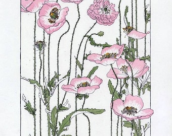 Instant Download Pink Poppy Blossoms You Print Digital Image