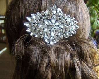 Bridal Hair Comb, Huge Rhinestone Hair Comb, Silver Hair Comb, Wedding Hair comb, Rhombus