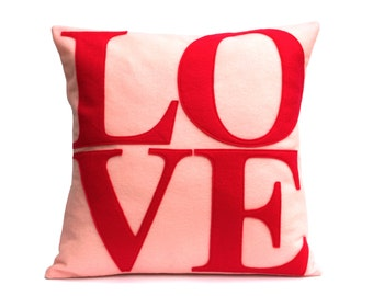LOVE Throw Pillow Cover Appliquéd in Red on Baby Pink Eco-Felt 18 inches