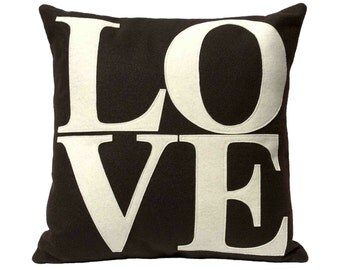 LOVE Throw Pillow Cover Appliquéd in Cocoa and Cream Eco-Felt 18 inches