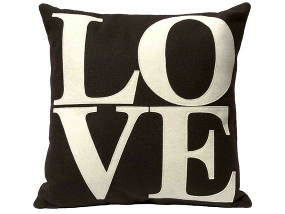 LOVE Pillow Cover Appliqued Eco-Felt in Cocoa and Cream - 18 inches