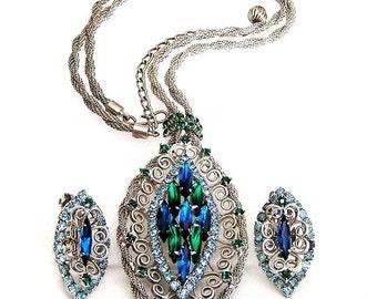Bright Blue Green and Aqua Stones in Silver Tone Filigree