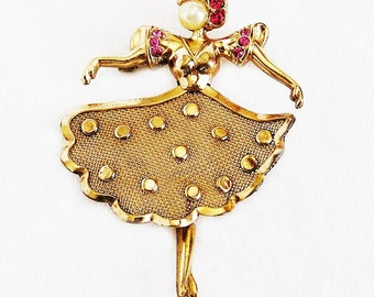 Regel 12K Gold Filled Ballerina Figural Brooch