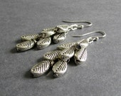 "Silver Leaf Earrings, Dangle Cluster Design, Polished and Oxidized Metal, ""Descend"""