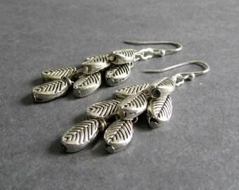 "Silver Leaf Earrings, Dangle Cluster Design, Polished and Oxidized Metal, ""Descend"""