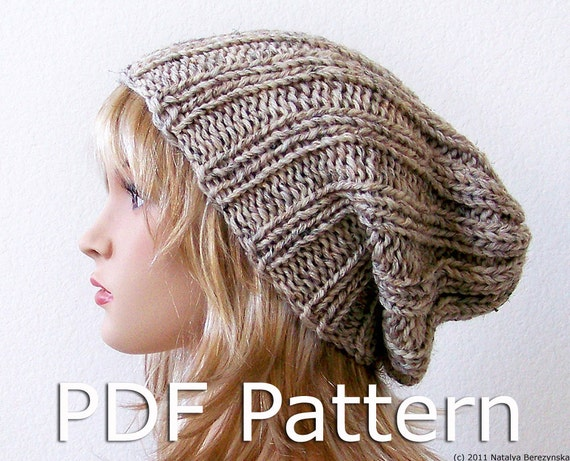 Knit Pattern Beanie Easy : Knitting PATTERN Knit Slouchy Beanie Pattern by natalya1905