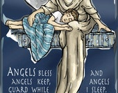 Art Print - Guardian Angel for Sleep, Nighttime Prayer