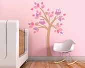 Owl Wall Decal, Nursery Tree Decal, Violet Owl, Pink Tree, Baby Girl Wall Decal. Tree with Owls Children Wall Decal