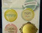 Great New Bravissimo Embellishment - 3 Sentiments & Brass Medallion - Mom - from Making Memories - FREE SHIPPING
