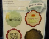 Great New Bravissimo Embellishment - 3 Sentiments & Brass Medallion - Birthday - from Making Memories - FREE SHIPPING