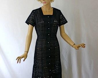 Vintage 40s Dinner Dress Black Eyelet Dress w Rhinestone Buttons