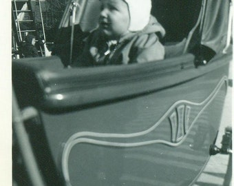 Baby in Carriage Bundled Up For Cold Weather Outside 30s 40s Black and White Vintage Photo Photograph