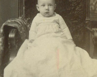 Baby Picture Christening Gown White Dress Sitting In Velvet Chair CDV Antique Studio Portrait Photo Photograph Card