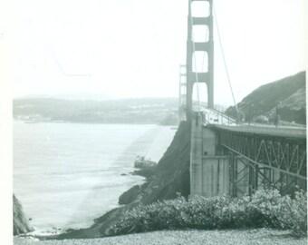San Francisco CA Golden Gate Bridge 1960s Mod Vintage Black And White Photo Photograph
