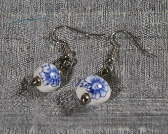 Blue and White Floral Ceramic Bead Earrings