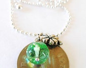 1976 IRISH Coin Charm Necklace-1976 Authentic  SILVER Irish 5 Pence Coin